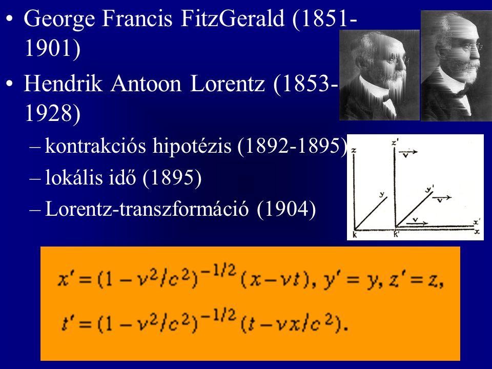 George Francis FitzGerald (1851- 1901) Hendrik Antoon Lorentz (1853- 1928) –kontrakciós hipotézis (1892-1895) –lokális idő (1895) –Lorentz-transzformá