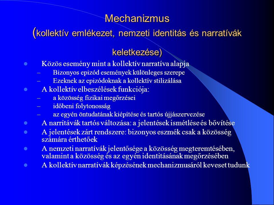 Mechanizmus ( kollektív emlékezet, nemzeti identitás és narratívák keletkezése) Közös esemény mint a kollektív narratíva alapja – Bizonyos epizód esem