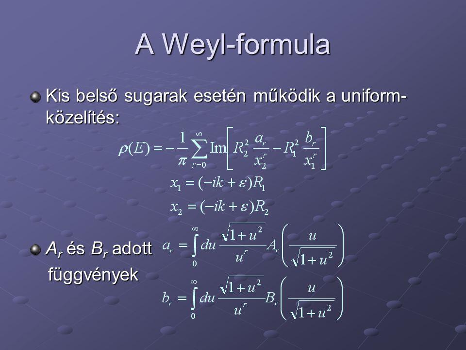 A Weyl-formula Kis belső sugarak esetén működik a uniform- közelítés: A r és B r adott függvények függvények