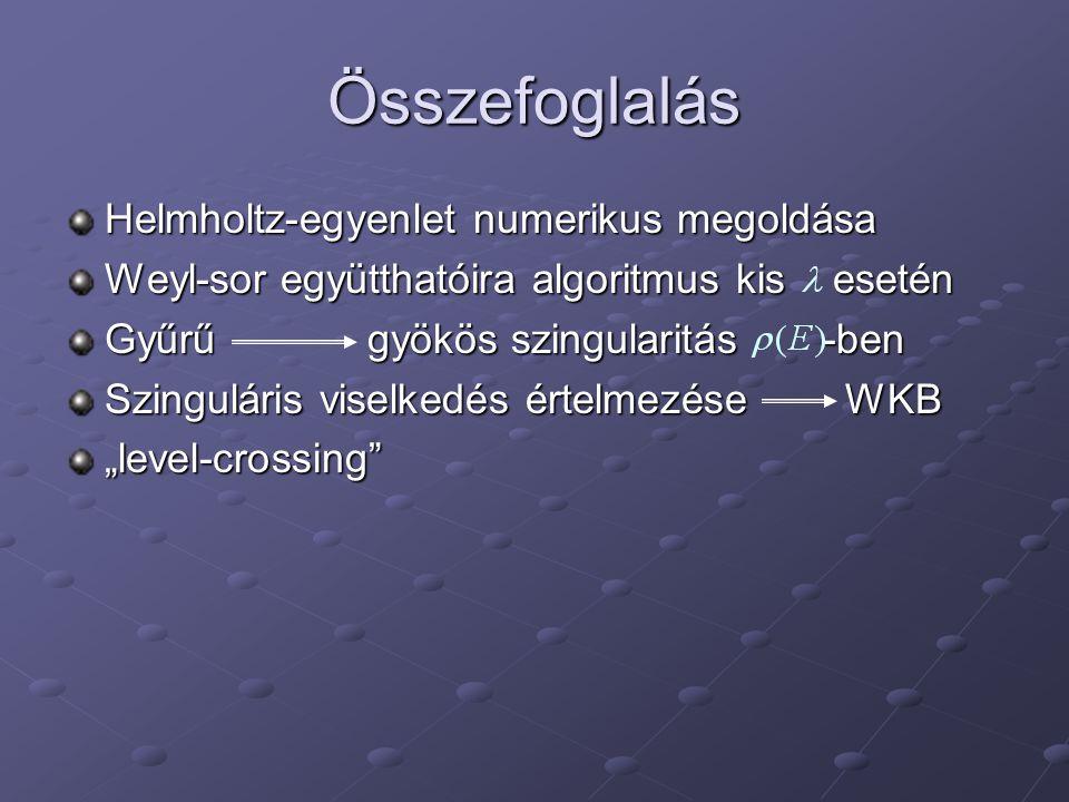 """Összefoglalás Helmholtz-egyenlet numerikus megoldása Weyl-sor együtthatóira algoritmus kis esetén Gyűrű gyökös szingularitás -ben Szinguláris viselkedés értelmezése WKB """"level-crossing"""