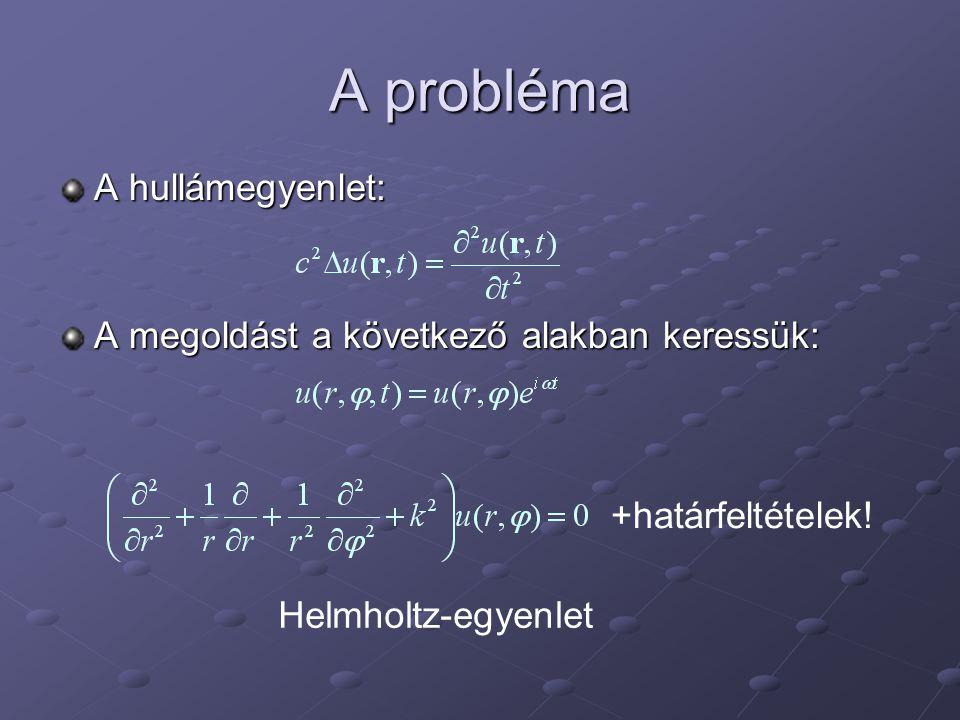 A probléma A hullámegyenlet: A megoldást a következő alakban keressük: +határfeltételek.