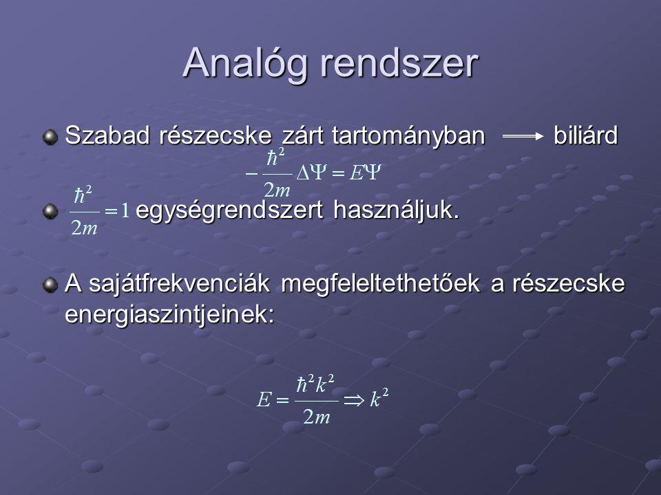 Analóg rendszer Szabad részecske zárt tartományban biliárd egységrendszert használjuk.