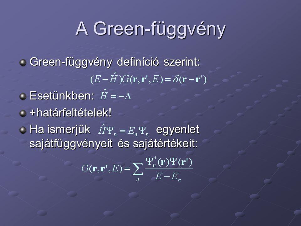 A Green-függvény Green-függvény definíció szerint: Esetünkben:+határfeltételek.