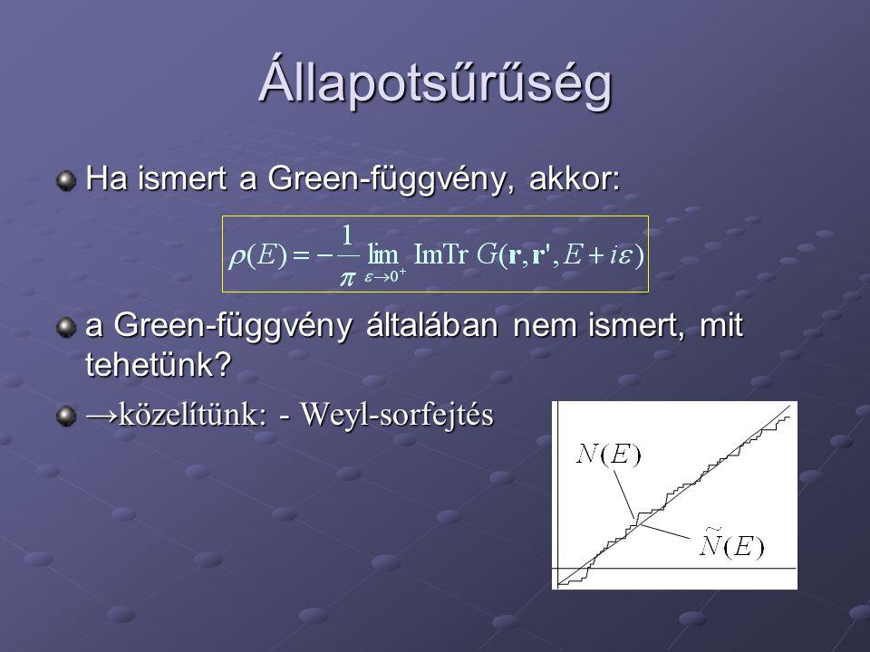 Állapotsűrűség Ha ismert a Green-függvény, akkor: a Green-függvény általában nem ismert, mit tehetünk.