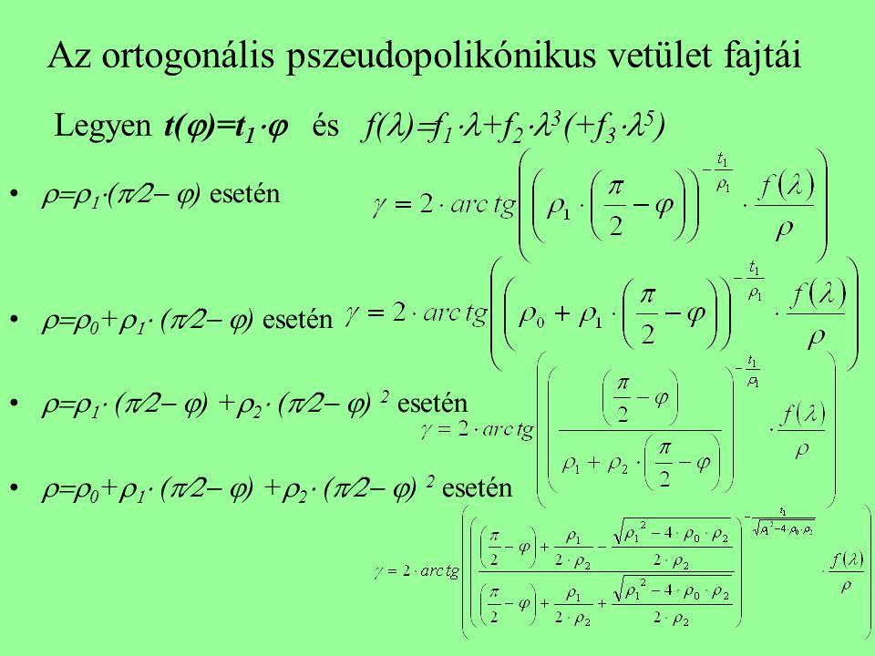 Az ortogonális pszeudopolikónikus vetület fajtái Legyen t(  )=t 1  és f( )  f 1  +f 2  3 (+f 3  5 )    (   ) esetén  0 +    (   ) esetén    (   ) +  2  (   ) 2 esetén  0 +    (   ) +  2  (   ) 2 esetén