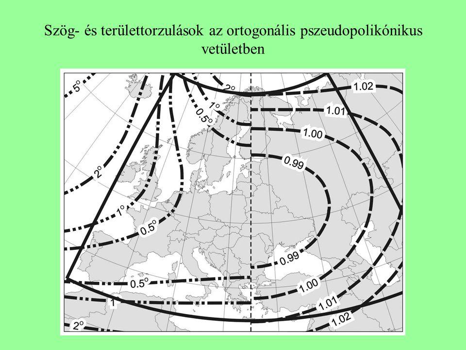Szög- és területtorzulások az ortogonális pszeudopolikónikus vetületben