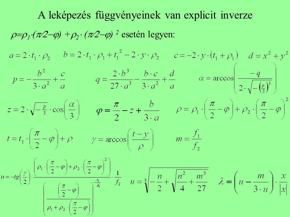 A leképezés függvényeinek van explicit inverze    (  ) +  2  (  ) 2 esetén legyen: