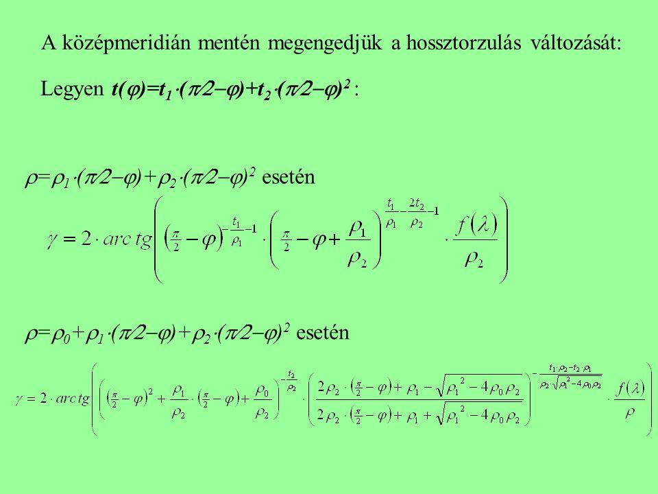 A középmeridián mentén megengedjük a hossztorzulás változását: Legyen t(  )=t 1  (  )+t 2  (  ) 2 :  =  1  (  )+  2  (  ) 2 esetén  =  0 +  1  (  )+  2  (  ) 2 esetén