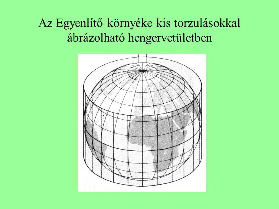Az Egyenlítő környéke kis torzulásokkal ábrázolható hengervetületben