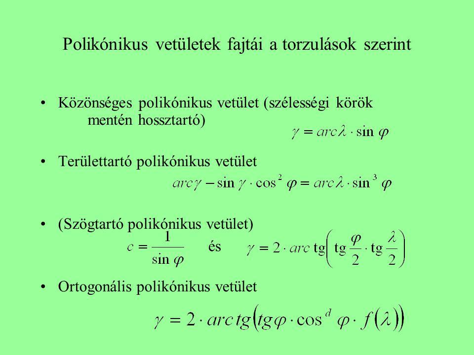 Polikónikus vetületek fajtái a torzulások szerint Közönséges polikónikus vetület (szélességi körök mentén hossztartó) Területtartó polikónikus vetület (Szögtartó polikónikus vetület) Ortogonális polikónikus vetület és