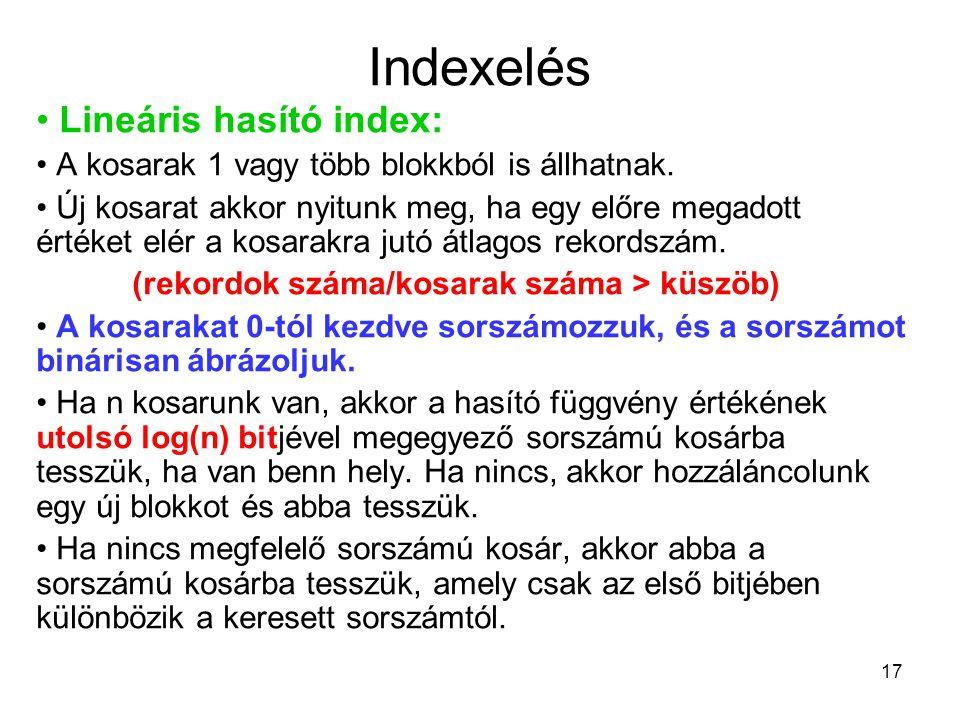 17 Indexelés Lineáris hasító index: A kosarak 1 vagy több blokkból is állhatnak. Új kosarat akkor nyitunk meg, ha egy előre megadott értéket elér a ko