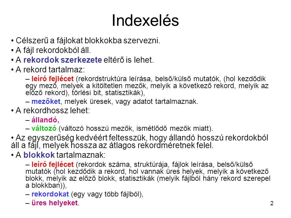 2 Indexelés Célszerű a fájlokat blokkokba szervezni. A fájl rekordokból áll. A rekordok szerkezete eltérő is lehet. A rekord tartalmaz: – leíró fejléc