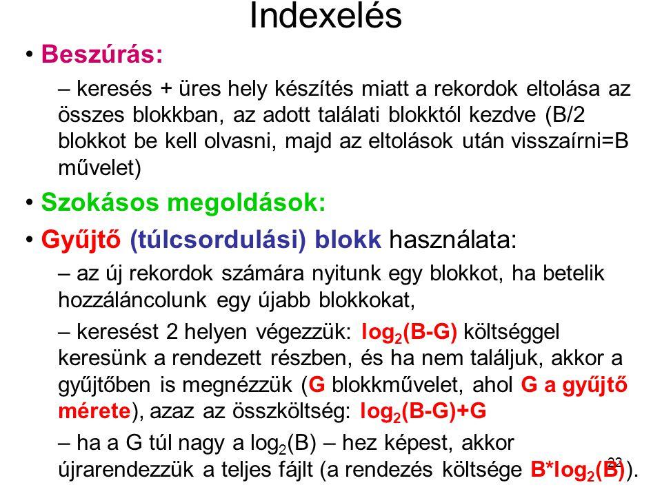 22 Indexelés Beszúrás: – keresés + üres hely készítés miatt a rekordok eltolása az összes blokkban, az adott találati blokktól kezdve (B/2 blokkot be