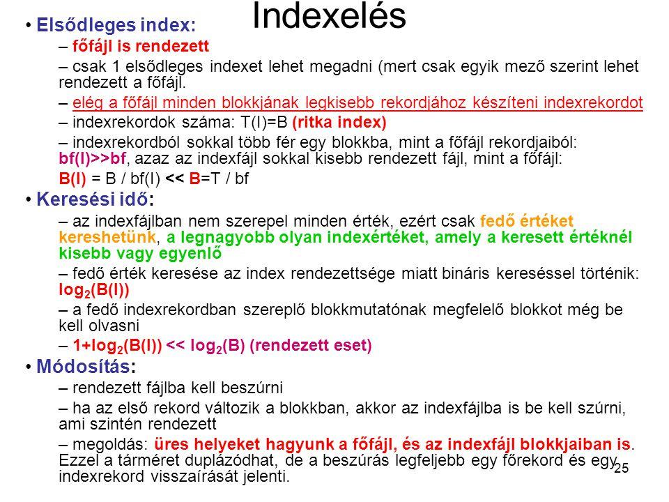 25 Indexelés Elsődleges index: – főfájl is rendezett – csak 1 elsődleges indexet lehet megadni (mert csak egyik mező szerint lehet rendezett a főfájl.