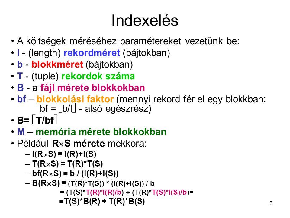 3 Indexelés A költségek méréséhez paramétereket vezetünk be: l - (length) rekordméret (bájtokban) b - blokkméret (bájtokban) T - (tuple) rekordok száma B - a fájl mérete blokkokban bf – blokkolási faktor (mennyi rekord fér el egy blokkban: bf =  b/l  - alsó egészrész) B=  T/bf  M – memória mérete blokkokban Például R  S mérete mekkora: – l(R  S) = l(R)+l(S) – T(R  S) = T(R)*T(S) – bf(R  S) = b / (l(R)+l(S)) – B(R  S) = (T(R)*T(S)) * (l(R)+l(S)) / b = (T(S)*T(R)*l(R)/b) + (T(R)*T(S)*l(S)/b)= =T(S)*B(R) + T(R)*B(S)