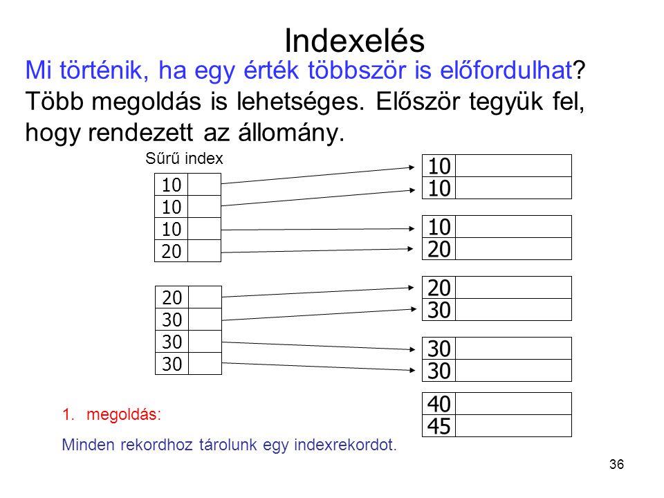 36 10 20 10 30 20 30 45 40 10 20 30 10 20 10 30 20 30 45 40 10 20 30 Mi történik, ha egy érték többször is előfordulhat.