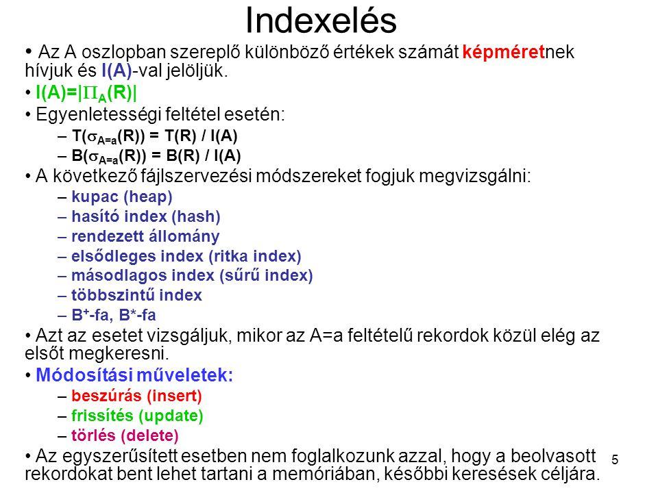 5 Indexelés Az A oszlopban szereplő különböző értékek számát képméretnek hívjuk és I(A)-val jelöljük. I(A)=|  A (R)| Egyenletességi feltétel esetén: