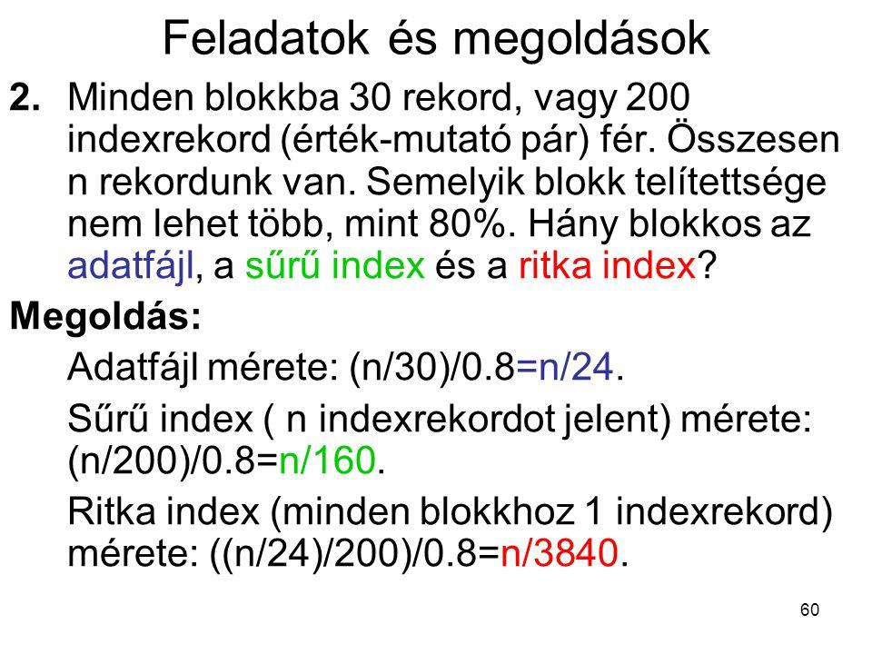 60 Feladatok és megoldások 2.Minden blokkba 30 rekord, vagy 200 indexrekord (érték-mutató pár) fér.