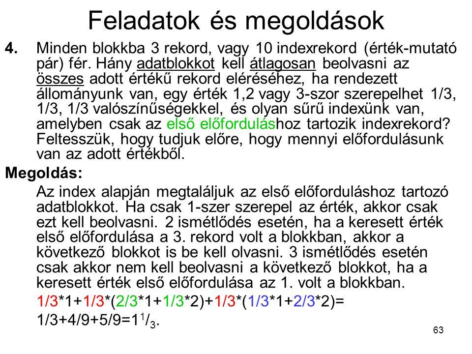 63 Feladatok és megoldások 4.Minden blokkba 3 rekord, vagy 10 indexrekord (érték-mutató pár) fér.