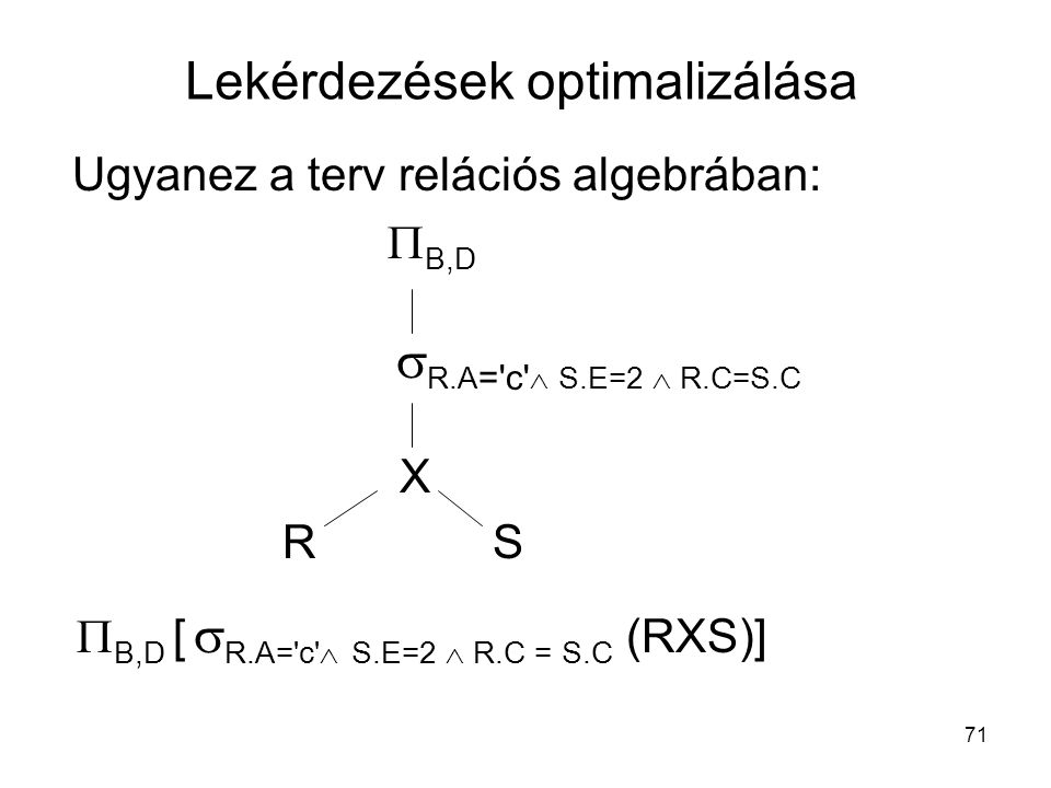 71 Ugyanez a terv relációs algebrában:  B,D  R.A = c  S.E=2  R.C=S.C XX RSRS  B,D [  R.A= c  S.E=2  R.C = S.C (RXS)] Lekérdezések optimalizálása
