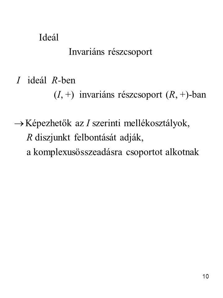 10 Ideál Invariáns részcsoport I ideál R-ben (I, +) invariáns részcsoport (R, +)-ban  Képezhetők az I szerinti mellékosztályok, R diszjunkt felbontás