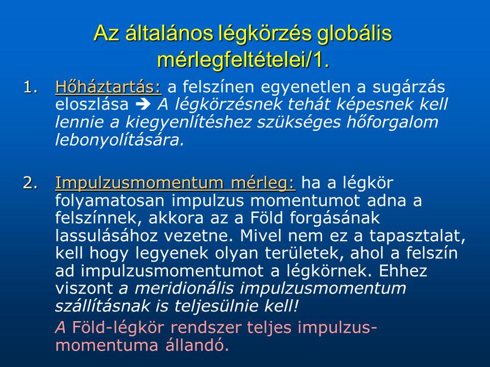 Az általános légkörzés globális mérlegfeltételei/1. 1.Hőháztartás: 1.Hőháztartás: a felszínen egyenetlen a sugárzás eloszlása  A légkörzésnek tehát k