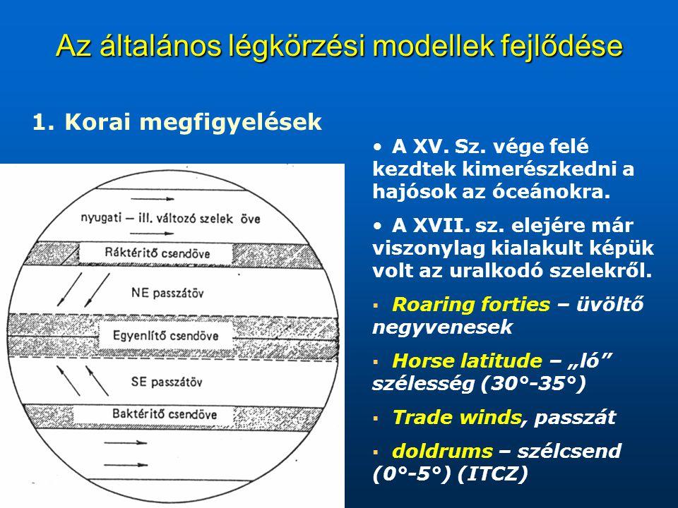 Az általános légkörzési modellek fejlődése 1. 1. Korai megfigyelések A XV. Sz. vége felé kezdtek kimerészkedni a hajósok az óceánokra. A XVII. sz. ele