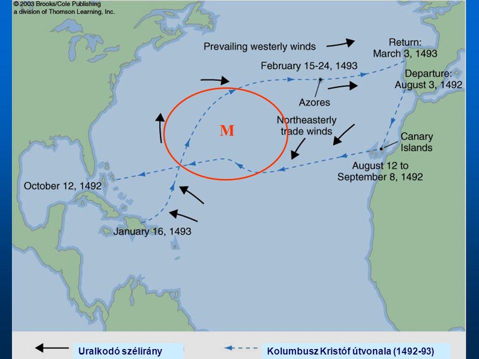 Kolumbusz Kristóf útvonala (1492-93) M Uralkodó szélirány