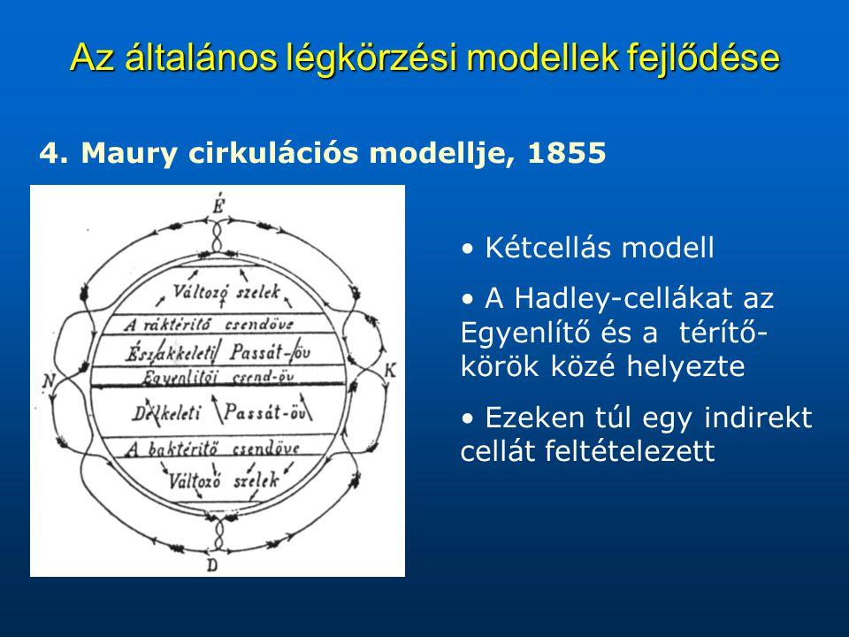 Az általános légkörzési modellek fejlődése 4. 4. Maury cirkulációs modellje, 1855 Kétcellás modell A Hadley-cellákat az Egyenlítő és a térítő- körök k