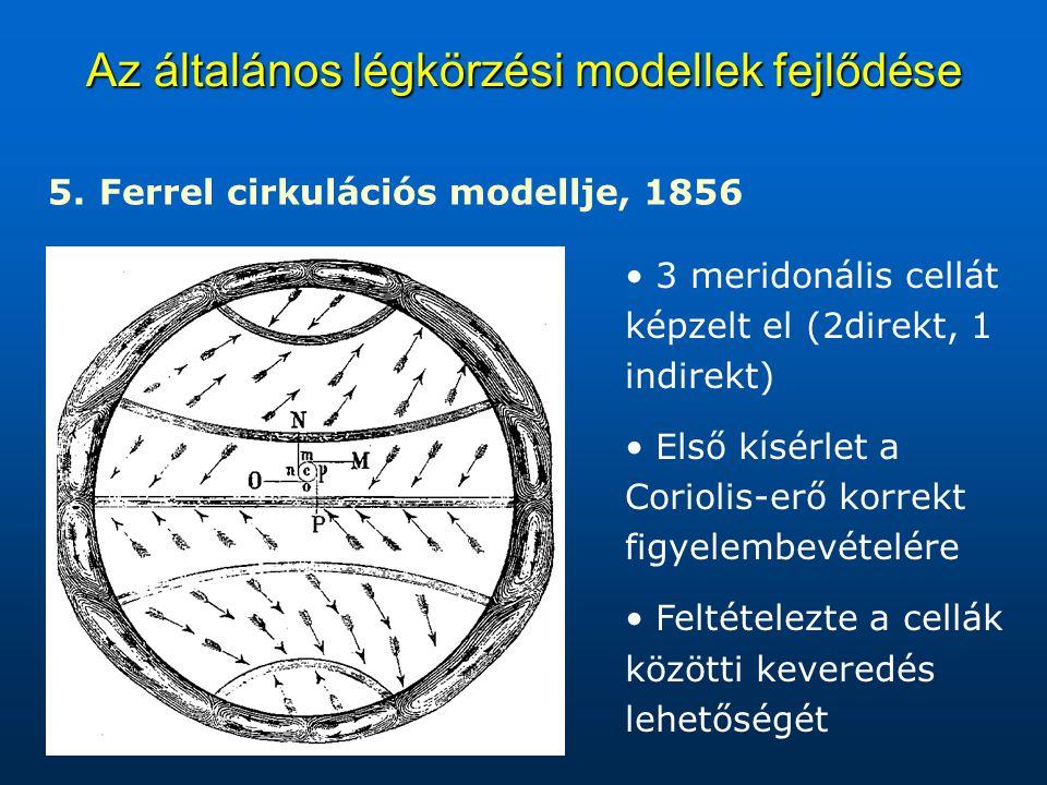 Az általános légkörzési modellek fejlődése 5. 5. Ferrel cirkulációs modellje, 1856 3 meridonális cellát képzelt el (2direkt, 1 indirekt) Első kísérlet