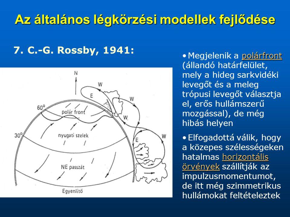 Az általános légkörzési modellek fejlődése 7. C.-G. Rossby, 1941: polárfrontMegjelenik a polárfront (állandó határfelület, mely a hideg sarkvidéki lev