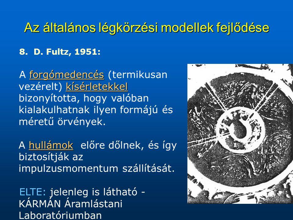 Az általános légkörzési modellek fejlődése 8. D. Fultz, 1951: forgómedencés kísérletekkel A forgómedencés (termikusan vezérelt) kísérletekkel bizonyít