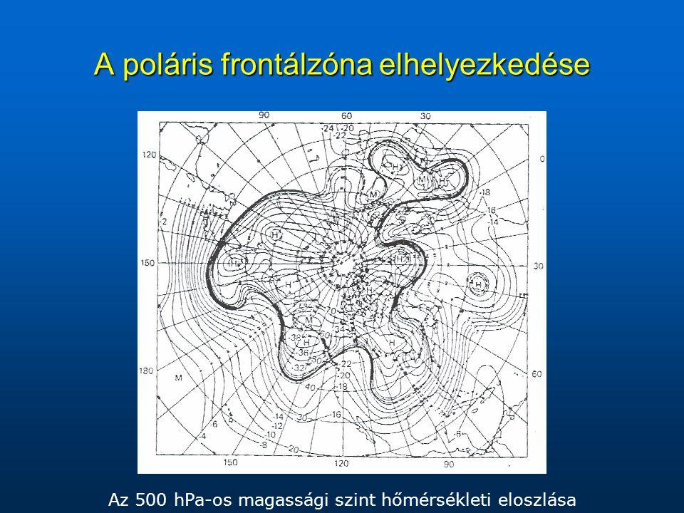 A poláris frontálzóna elhelyezkedése Az 500 hPa-os magassági szint hőmérsékleti eloszlása