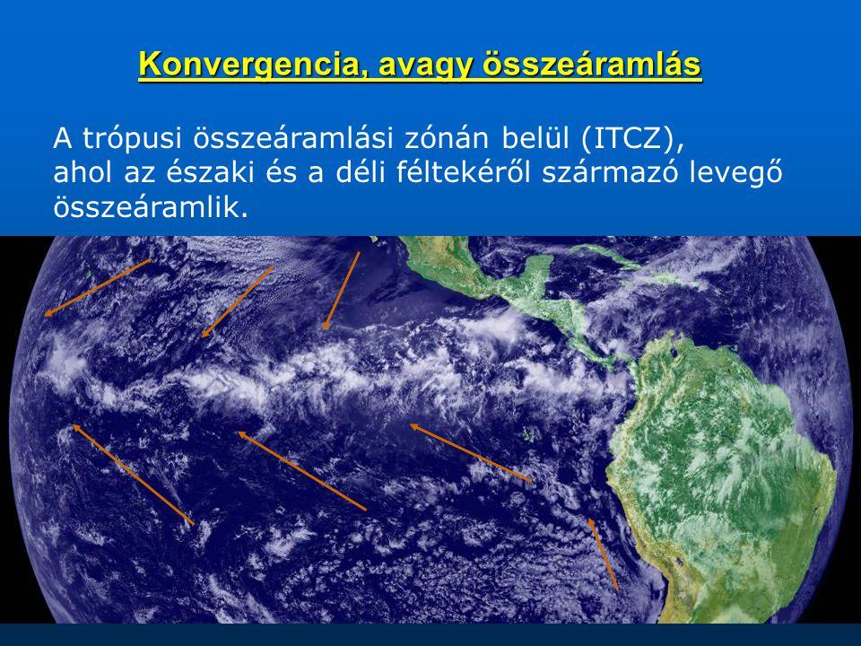 Konvergencia, avagy összeáramlás A trópusi összeáramlási zónán belül (ITCZ), ahol az északi és a déli féltekéről származó levegő összeáramlik.