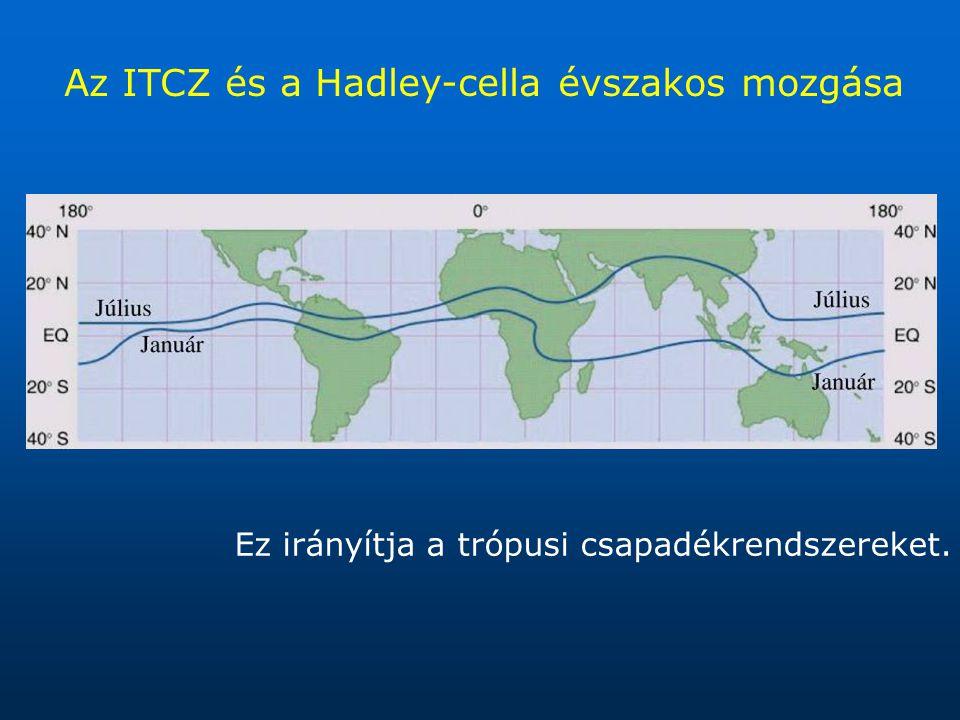 Az ITCZ és a Hadley-cella évszakos mozgása Ez irányítja a trópusi csapadékrendszereket.