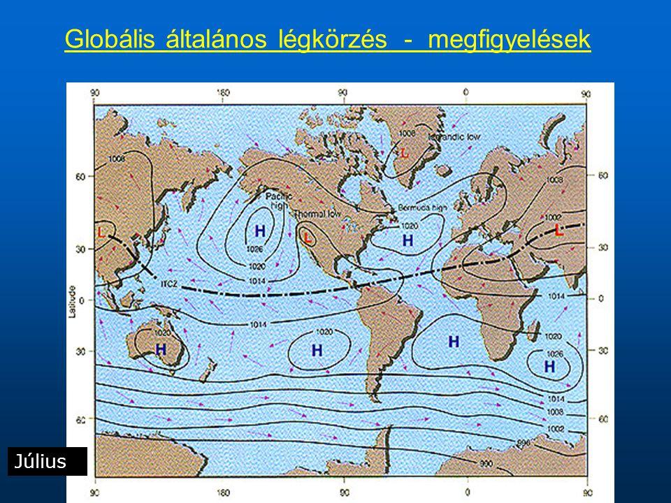 Július Globális általános légkörzés - megfigyelések