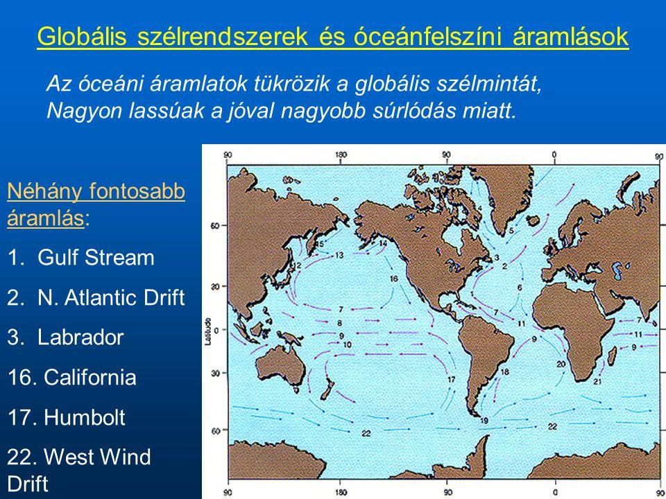 Globális szélrendszerek és óceánfelszíni áramlások Az óceáni áramlatok tükrözik a globális szélmintát, Nagyon lassúak a jóval nagyobb súrlódás miatt.