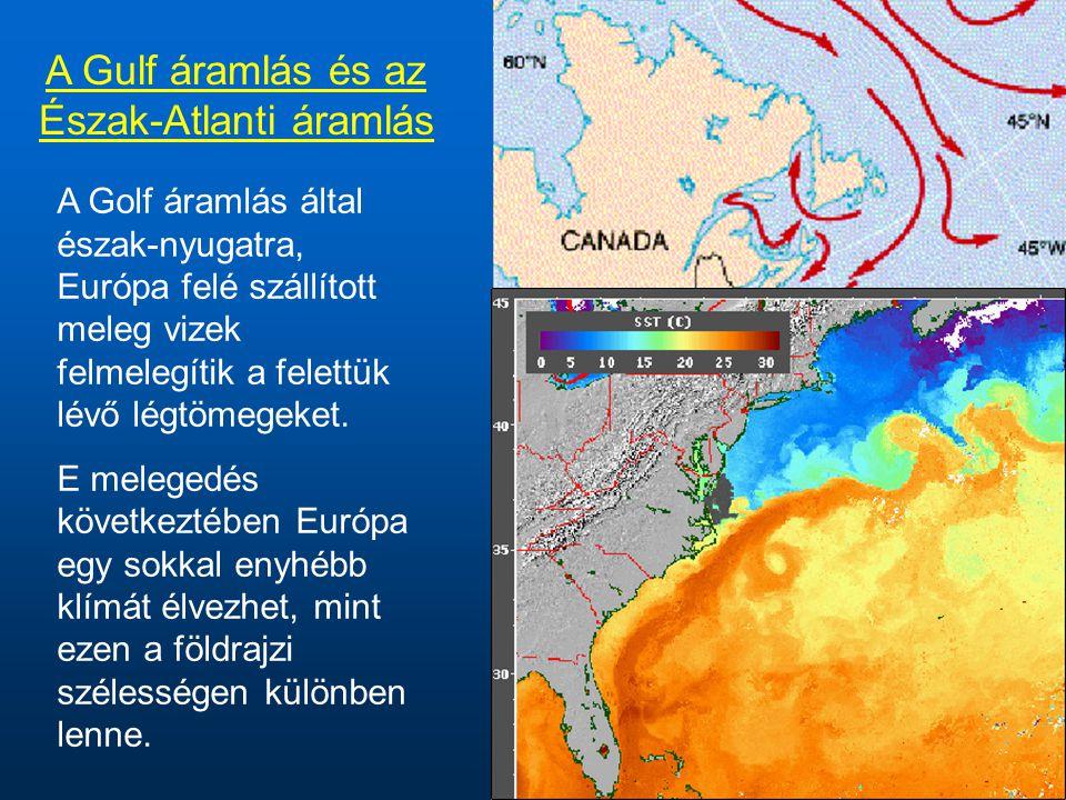 A Gulf áramlás és az Észak-Atlanti áramlás A Golf áramlás által észak-nyugatra, Európa felé szállított meleg vizek felmelegítik a felettük lévő légtömegeket.