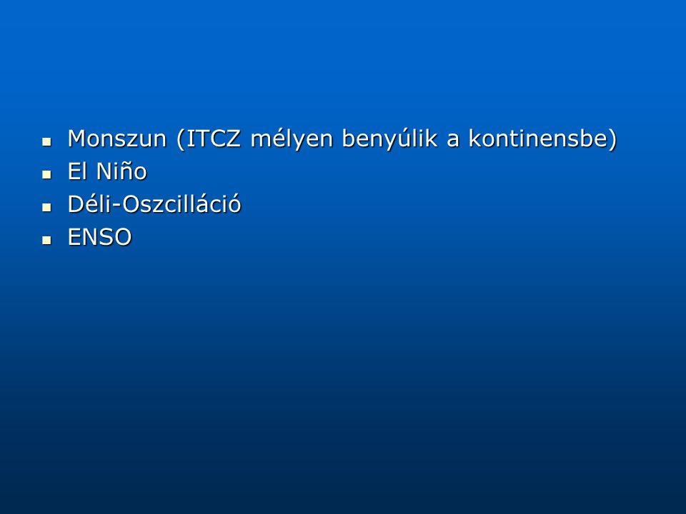Monszun (ITCZ mélyen benyúlik a kontinensbe) Monszun (ITCZ mélyen benyúlik a kontinensbe) El Niño El Niño Déli-Oszcilláció Déli-Oszcilláció ENSO ENSO