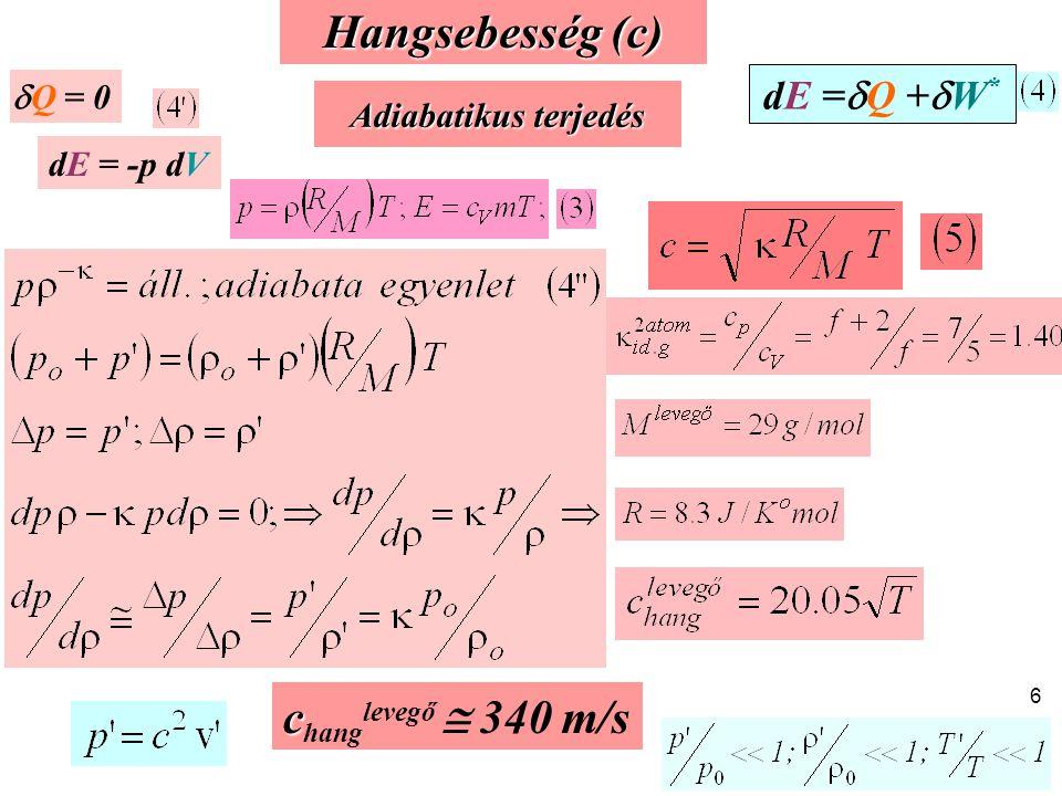 c c hang levegő  340 m/s Hangsebesség (c) Adiabatikus terjedés dE =  Q +  W *  Q = 0 dE = -p dV 6