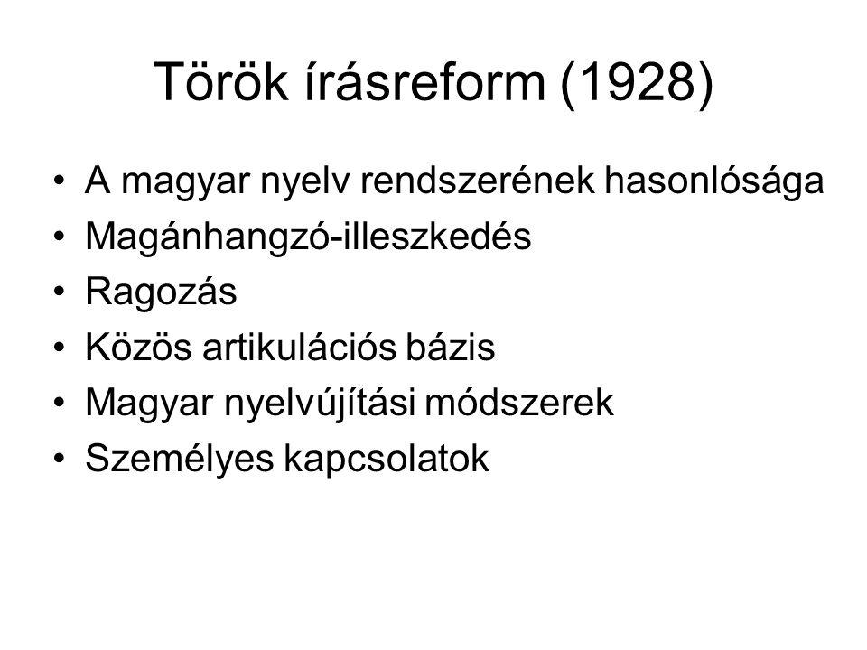Török írásreform (1928) A magyar nyelv rendszerének hasonlósága Magánhangzó-illeszkedés Ragozás Közös artikulációs bázis Magyar nyelvújítási módszerek