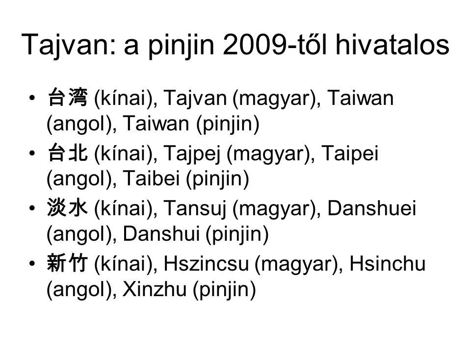 Tajvan: a pinjin 2009-től hivatalos 台湾 (kínai), Tajvan (magyar), Taiwan (angol), Taiwan (pinjin) 台北 (kínai), Tajpej (magyar), Taipei (angol), Taibei (