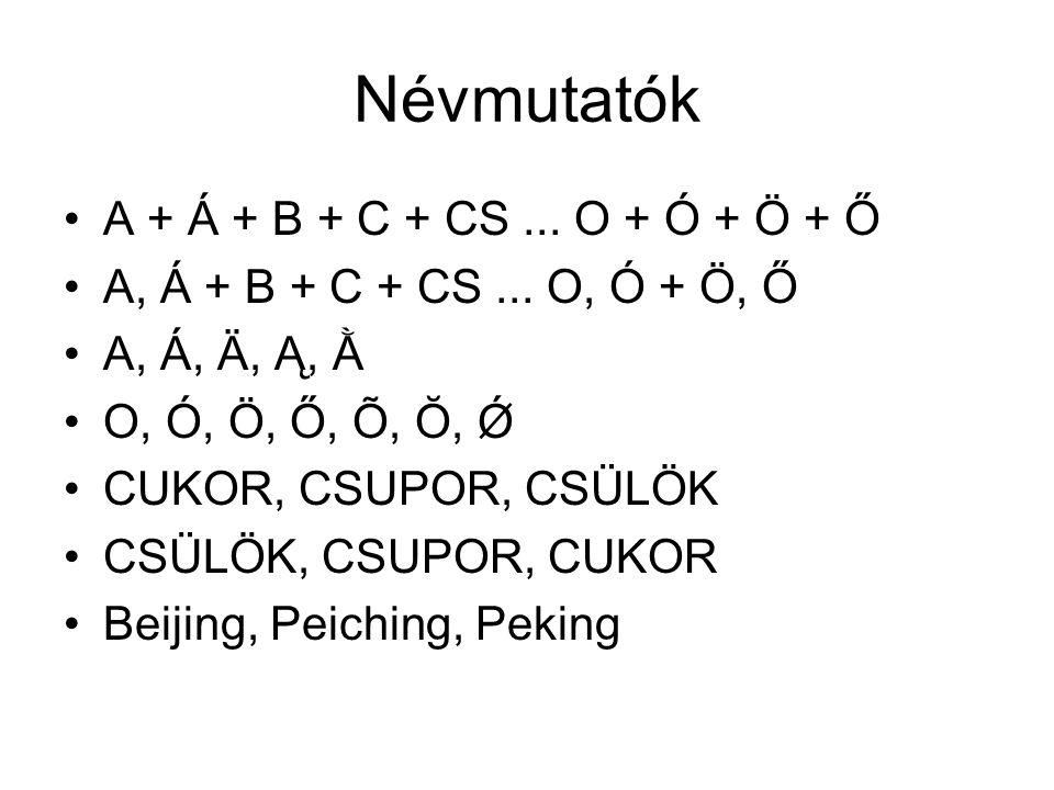 Névmutatók A + Á + B + C + CS... O + Ó + Ö + Ő A, Á + B + C + CS... O, Ó + Ö, Ő A, Á, Ä, Ą, Ằ O, Ó, Ö, Ő, Õ, Ŏ, Ǿ CUKOR, CSUPOR, CSÜLÖK CSÜLÖK, CSUPOR