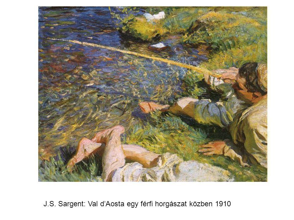 J.S. Sargent: Val d'Aosta egy férfi horgászat közben 1910