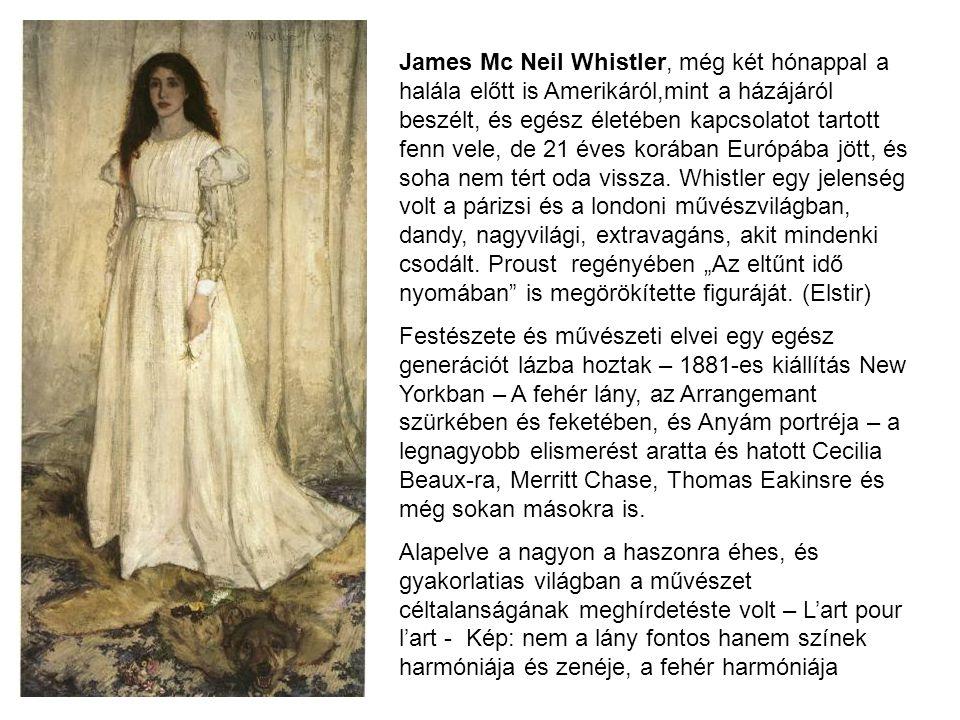 James Mc Neil Whistler, még két hónappal a halála előtt is Amerikáról,mint a házájáról beszélt, és egész életében kapcsolatot tartott fenn vele, de 21