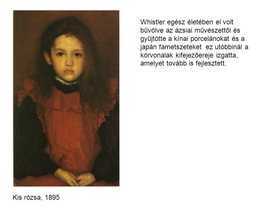Whistler egész életében el volt bűvölve az ázsiai művészettől és gyűjtötte a kínai porcelánokat és a japán fametszeteket ez utóbbinál a körvonalak kif