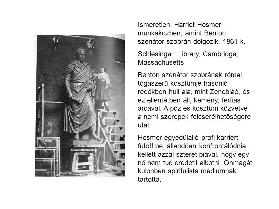 Ismeretlen: Harriet Hosmer munkaközben, amint Benton szenátor szobrán dolgozik. 1861 k. Schlesinger Library, Cambridge, Massachusetts Benton szenátor
