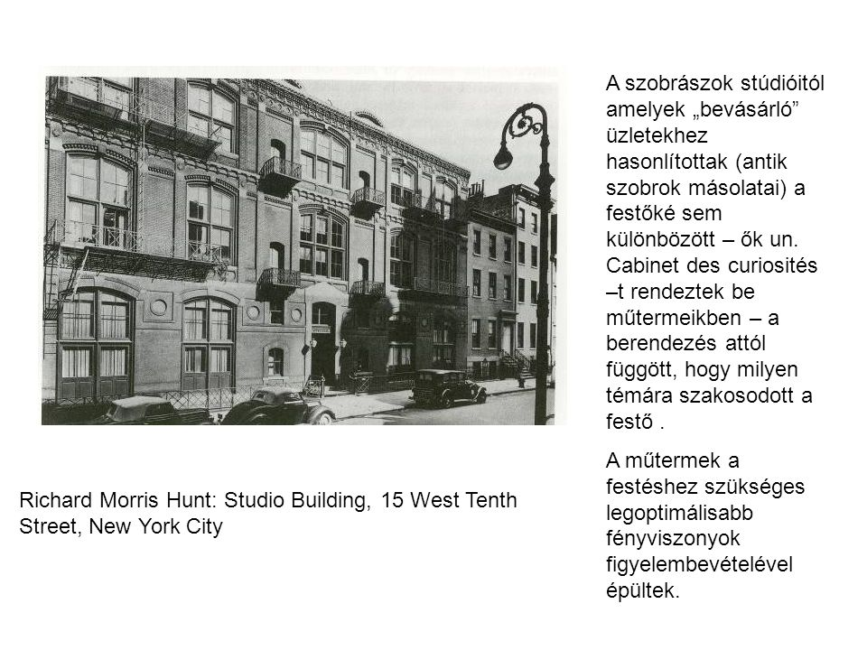 "Richard Morris Hunt: Studio Building, 15 West Tenth Street, New York City A szobrászok stúdióitól amelyek ""bevásárló"" üzletekhez hasonlítottak (antik"