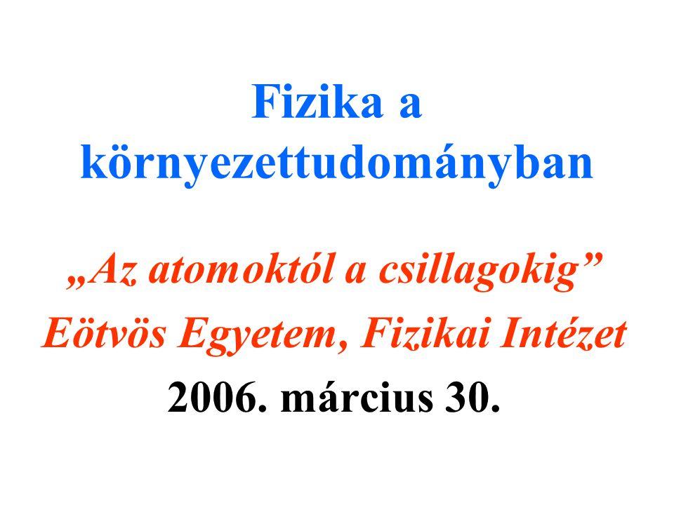 """Fizika a környezettudományban """"Az atomoktól a csillagokig Eötvös Egyetem, Fizikai Intézet 2006."""