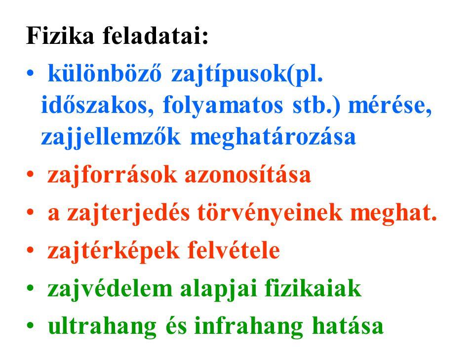 Fizika feladatai: különböző zajtípusok(pl.